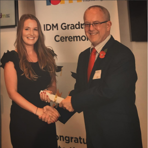 Yasmin receives the IDM Professional Diploma in Direct and Digital Marketing