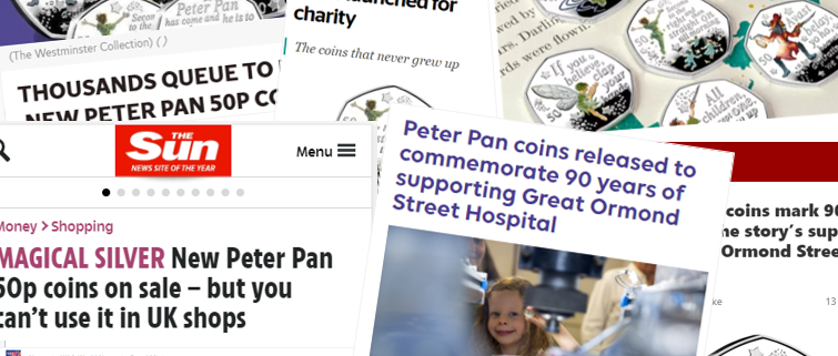 Peter Pan 50p coins press coverage